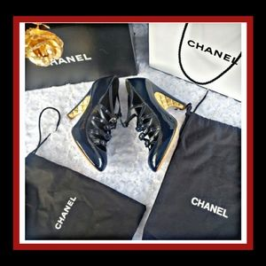 CHANEL Navy Blue Strap Buckle Pumps